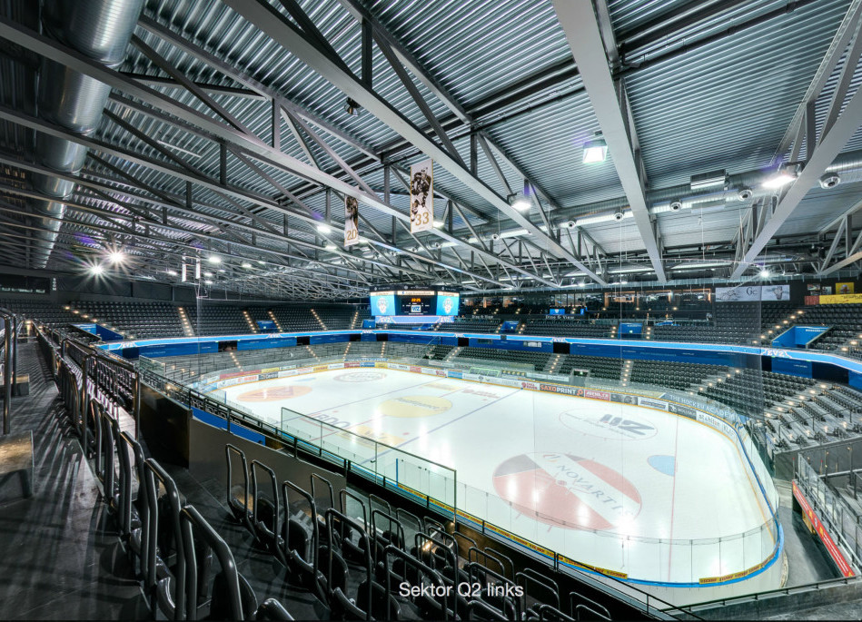 Bossard Arena in Zug view from above shown as a 360° Panorama